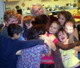 Jeanne Volunteer with kids